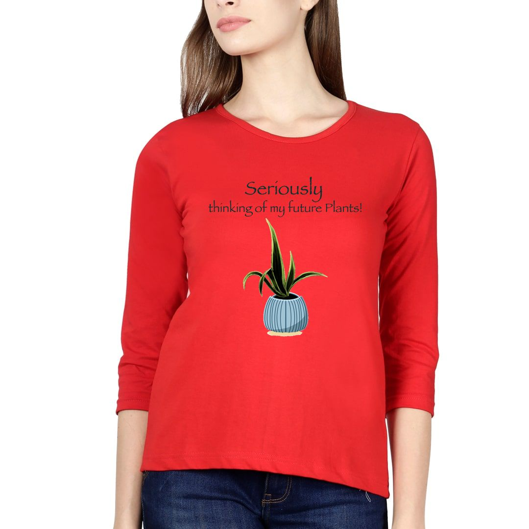 7b9a3f8e Thinking Of Future Plants For Plant Lovers Elbow Sleeve Women T Shirt Red Front.jpg
