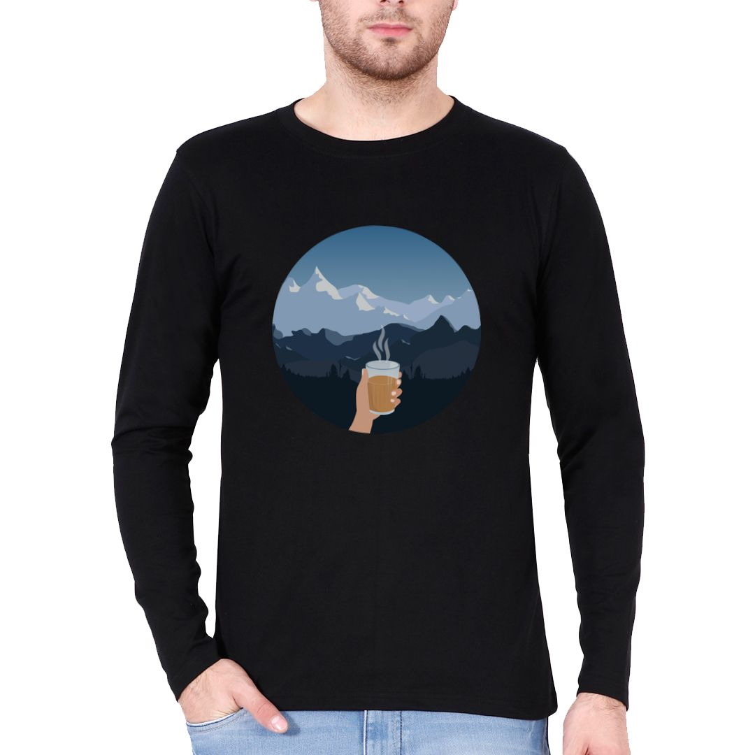 8d833478 Pahado Me Chai Full Sleeve Men T Shirt Black Front.jpg