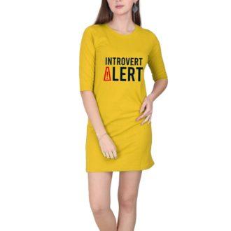 8efdfe23 introvert life women t shirt dress yellow front.jpg