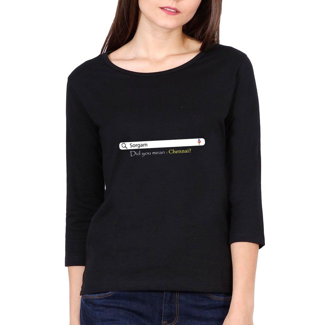 92021d2e Chennai Lovers Elbow Sleeve Women T Shirt Black Front.jpg
