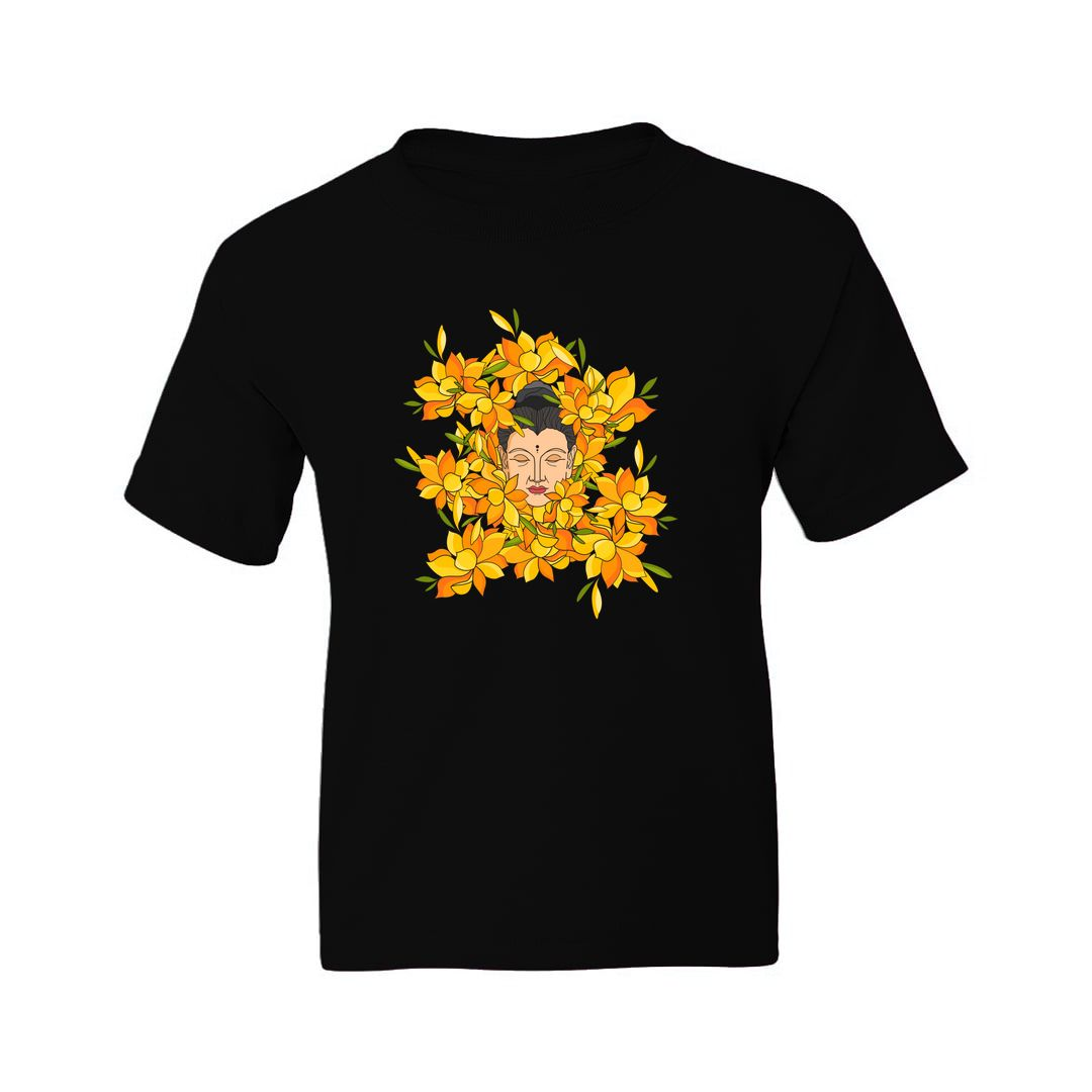 92375567 Abstract Buddha With Flowers Kids T Shirt Black Front.jpg