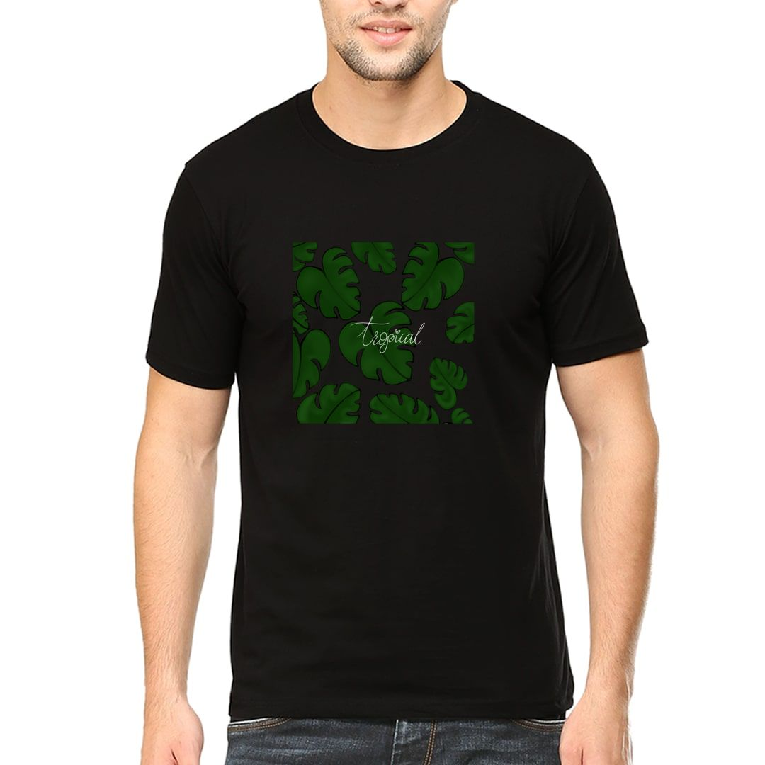 Ae921f4d Tropical Leaves Men T Shirt Black Front.jpg