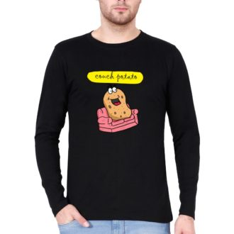 ba135c14 couch potato for chilling and relaxing full sleeve men t shirt black front.jpg