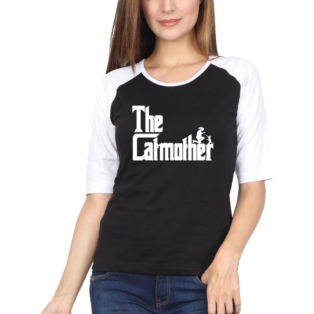 Bf30c735 The Catmother Classic Movie Pet Owner Dog Lover Gift Women Raglan Elbow Sleeve T Shirt White Black Front.jpg
