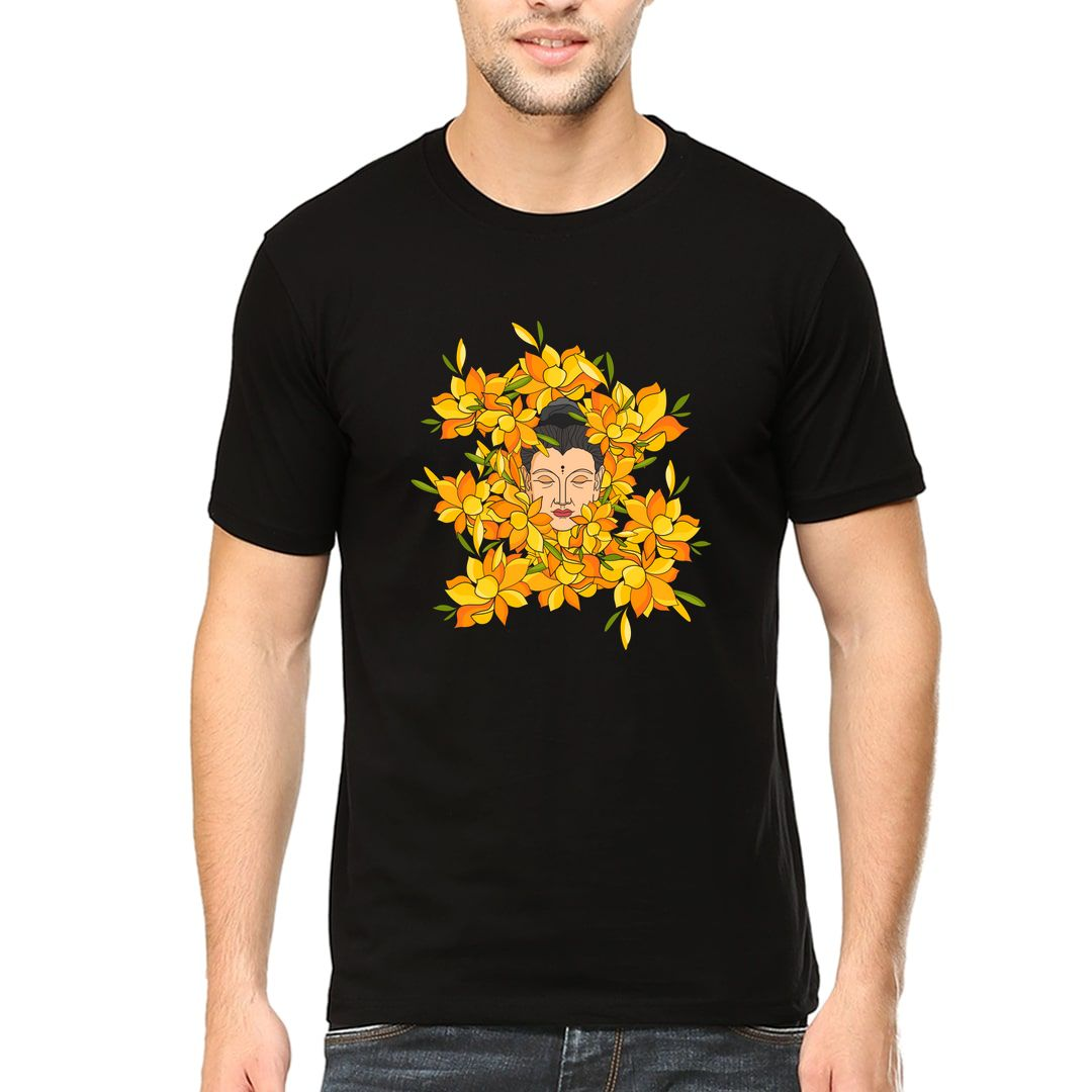 Ca0b1a1f Abstract Buddha With Flowers Men T Shirt Black Front.jpg