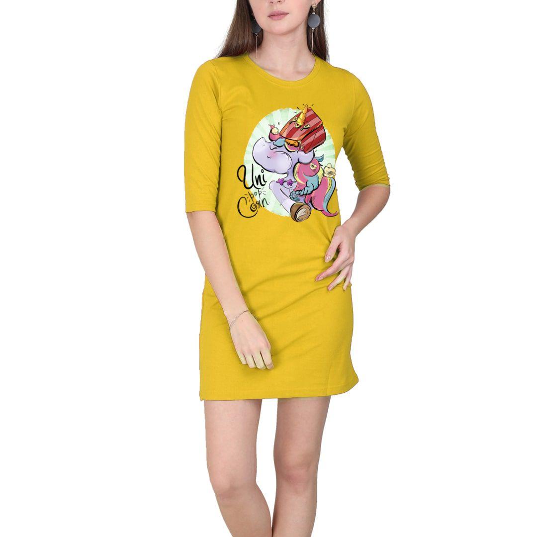 D20daa79 Uni Pop Corn Women T Shirt Dress Yellow Front.jpg
