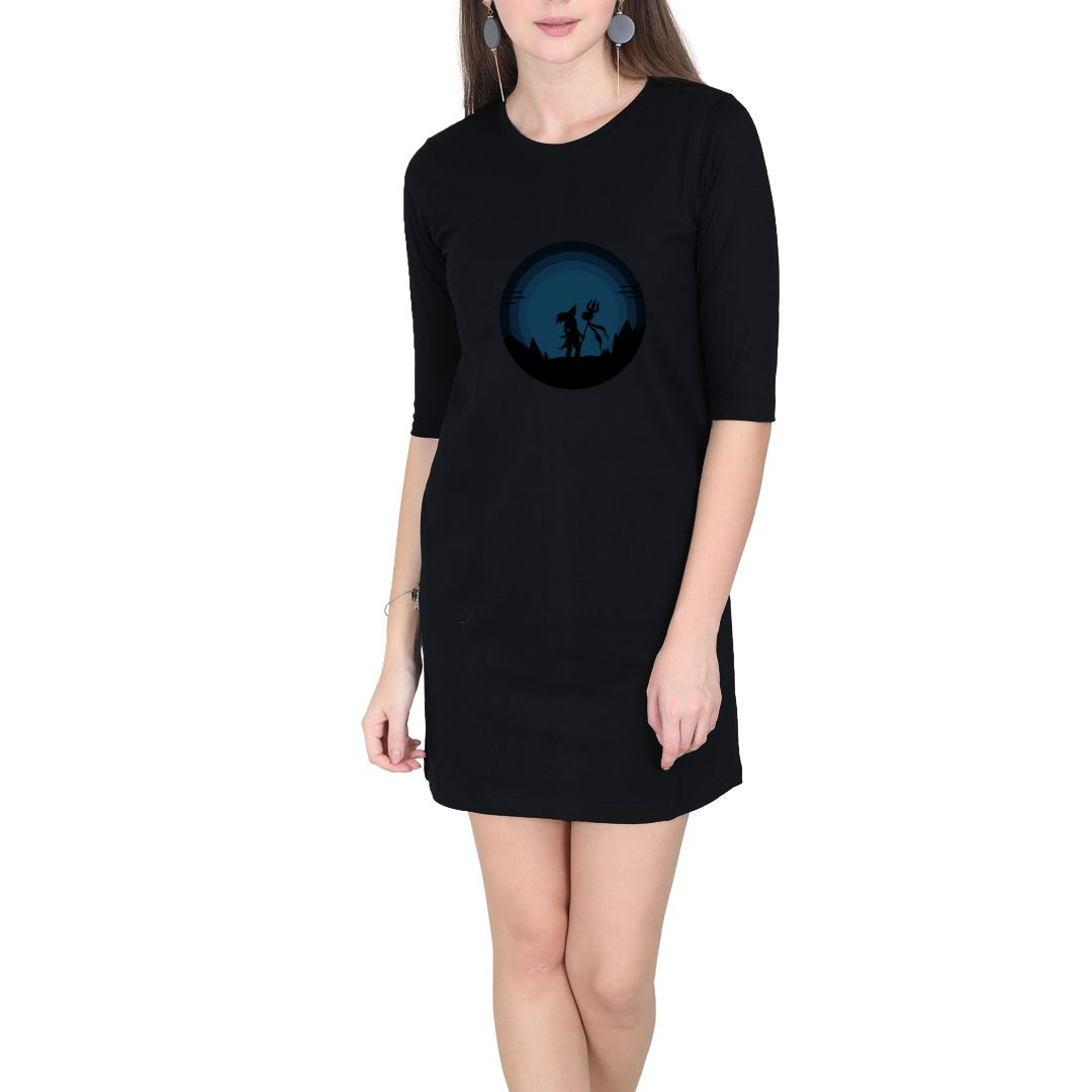 Dd37611b Bholenaath Women T Shirt Dress Black Front.jpg