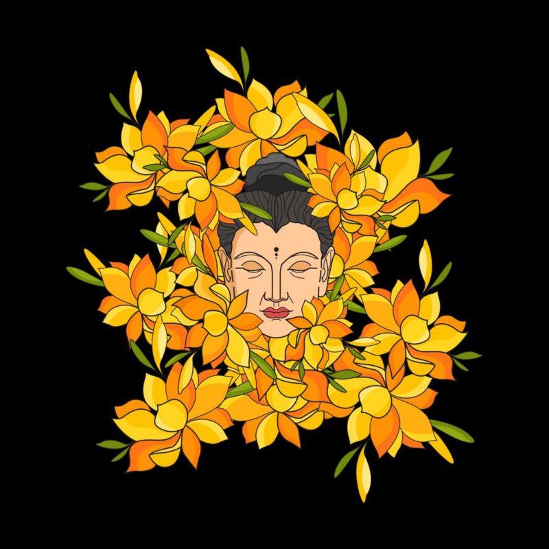 e811d2e4 abstract buddha with flowersblack