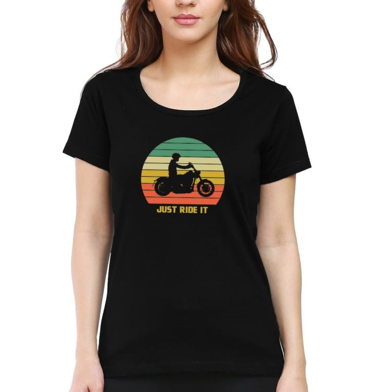 e8a37fb6 just ride it vintage retro look for bikers and bike lovers women t shirt black front.jpg