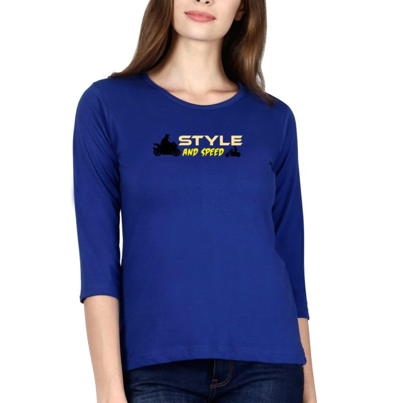 ee1db235 style and speed for bikers and bike lovers elbow sleeve women t shirt royal blue front.jpg