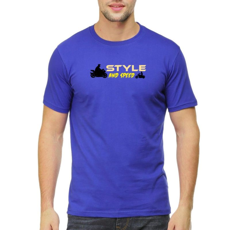 ee1db235 style and speed for bikers and bike lovers men t shirt royal blue front.jpg