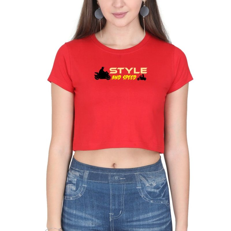 ee1db235 style and speed for bikers and bike lovers women crop top red front.jpg