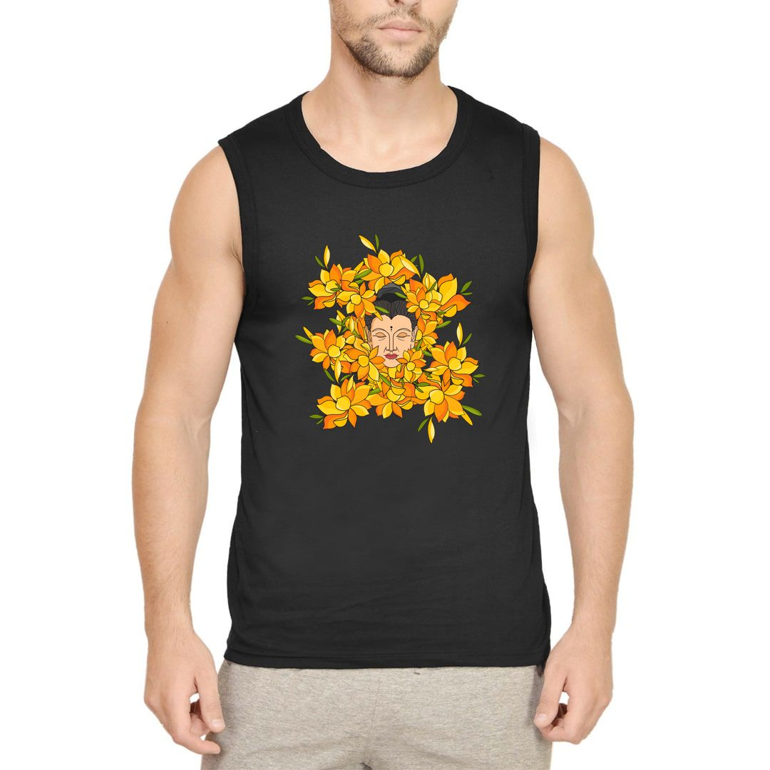 Eee947fb Abstract Buddha With Flowers Men Sleeveless T Shirt Vest Black Front.jpg