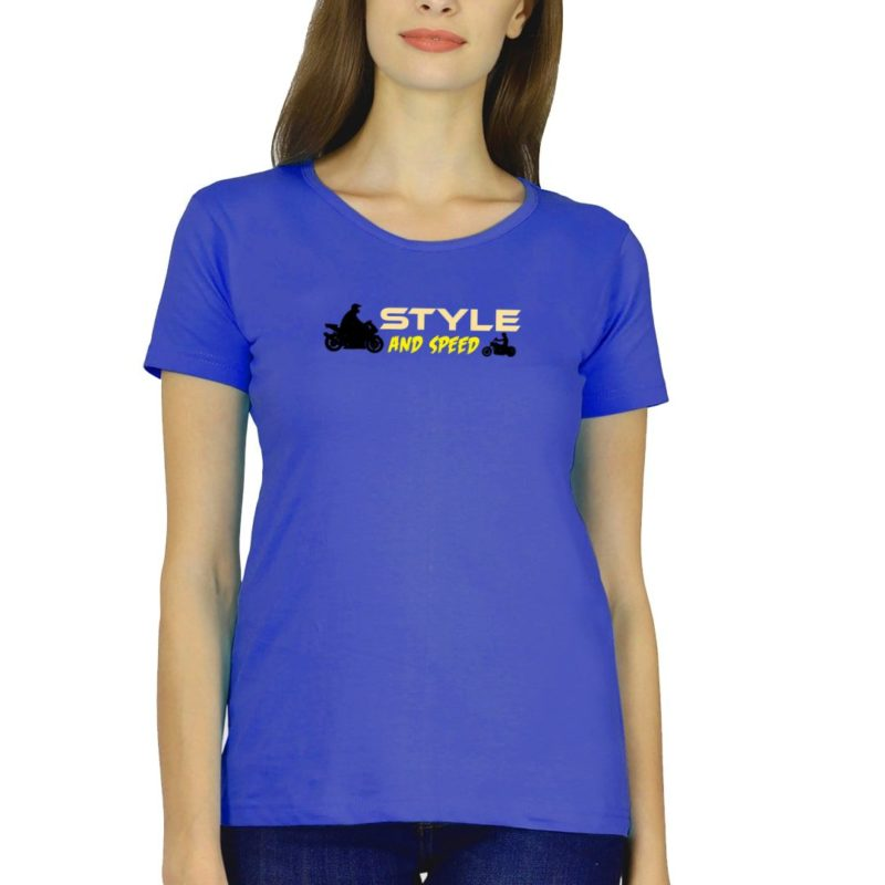 f5608985 style and speed for bikers and bike lovers women t shirt royal blue front.jpg