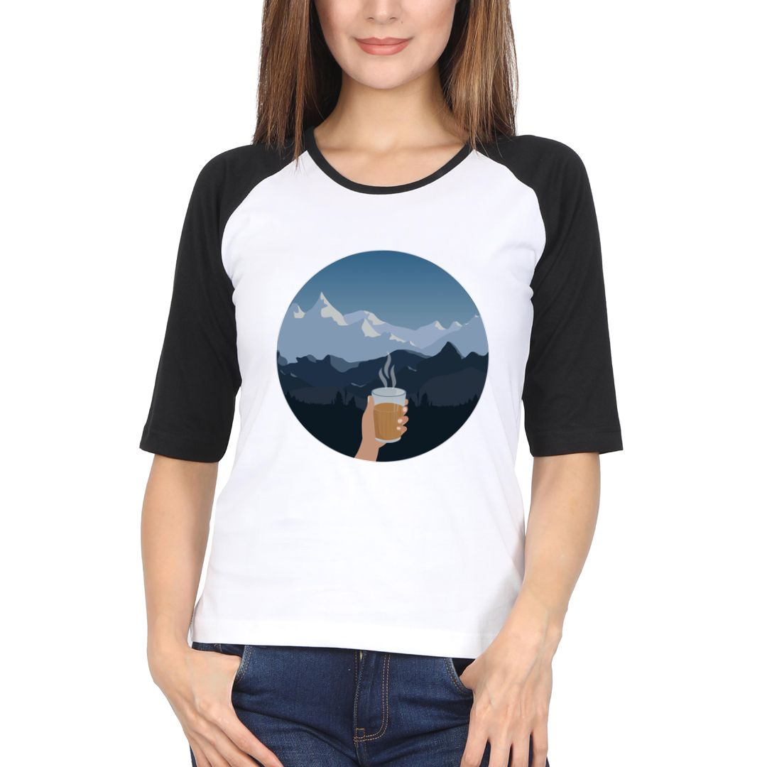F7fe92bc Pahado Me Chai Women Raglan Elbow Sleeve T Shirt Black White Front.jpg