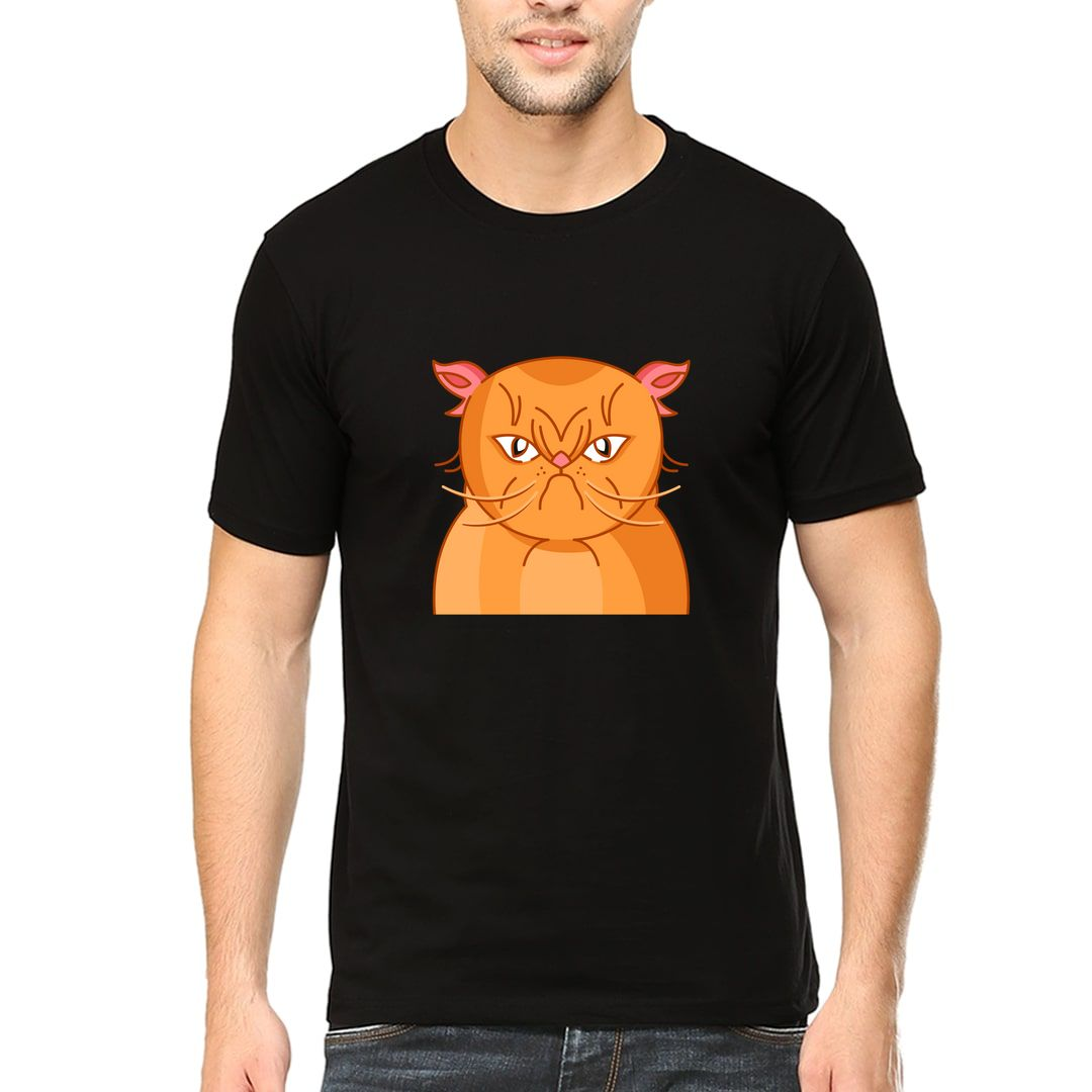 0a206183 Angry Cat Men T Shirt Black Front.jpg