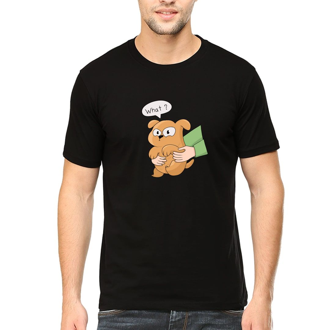 176267ea Dog Mood With Cute Puppy Men T Shirt Black Front.jpg