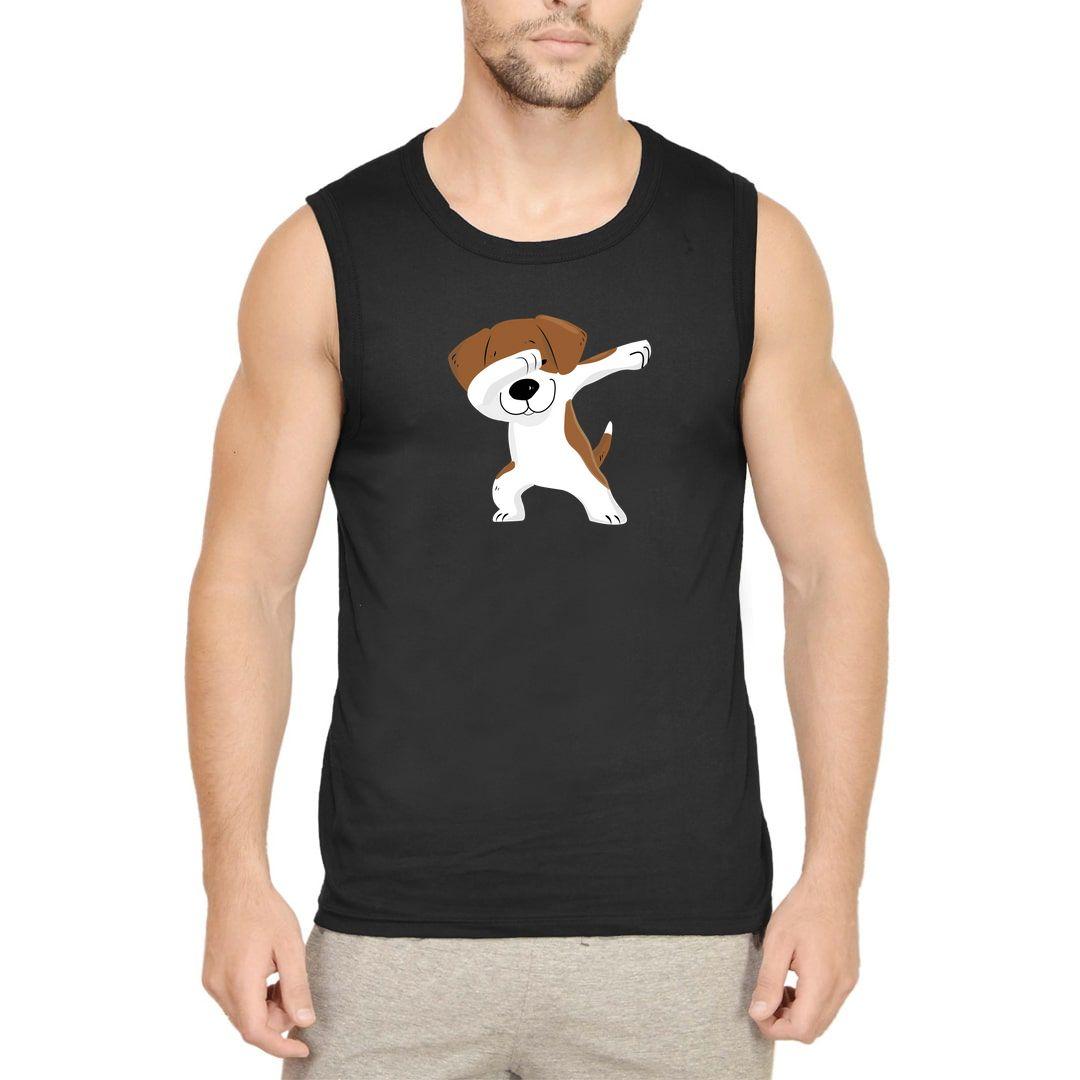 2513f58a Cute Puppy Dab Men Sleeveless T Shirt Vest Black Front.jpg