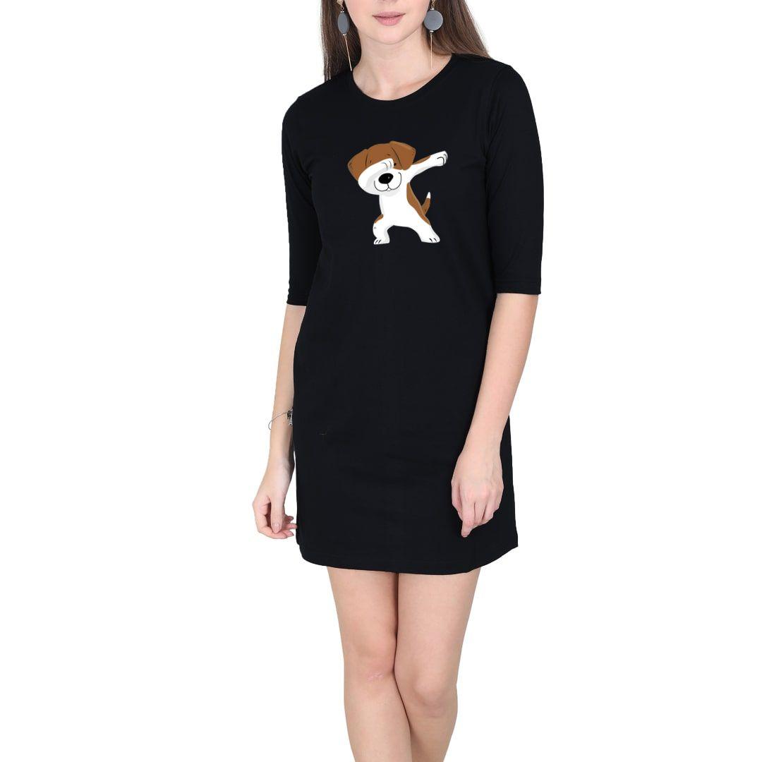 2db09626 Cute Puppy Dab Women T Shirt Dress Black Front.jpg