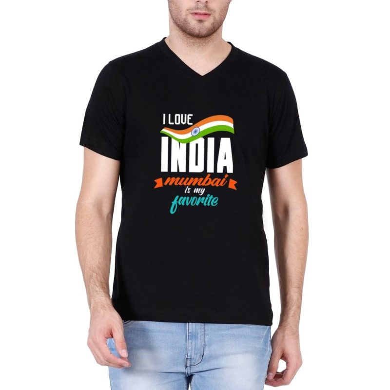 4fd7da01 i love india mumbai is my favorite men v neck t shirt black front.jpg