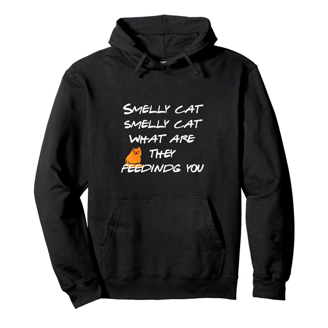 82fd0449 Smelly Cat 90s Nostalgia Gift Design For Best Friends Unisex Hooded Sweatshirt Hoodie Black Front.jpg