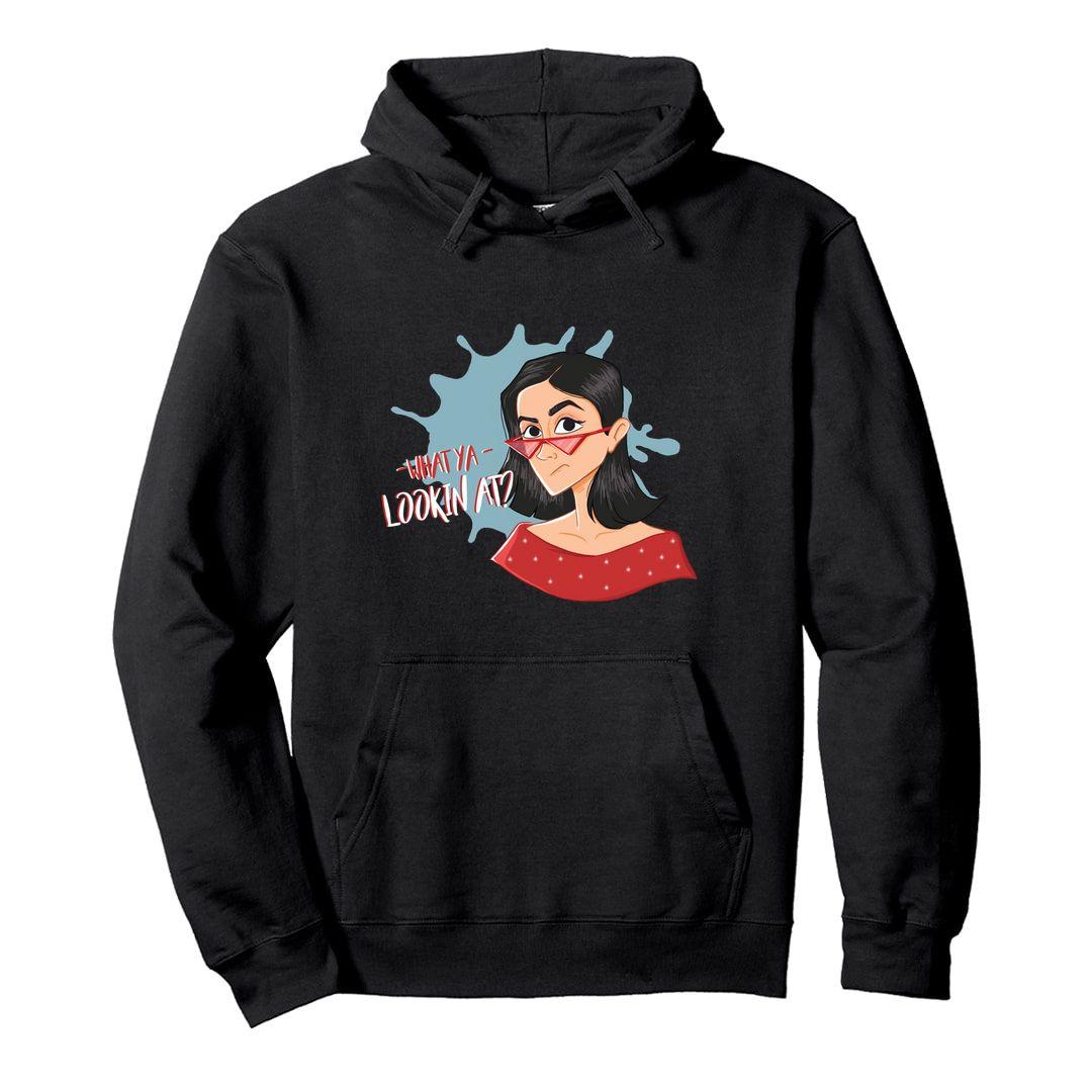 8ef9e958 What Ya Looking At Girls Slang Unisex Hooded Sweatshirt Hoodie Black Front.jpg