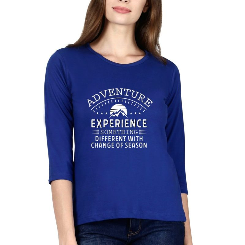 ae3b2092 i love mountains whatever the month elbow sleeve women t shirt royal blue front.jpg
