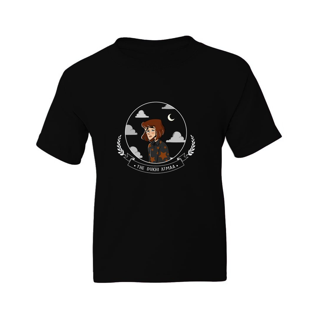 Bca59684 The Dukhi Aatma Kids T Shirt Black Front.jpg