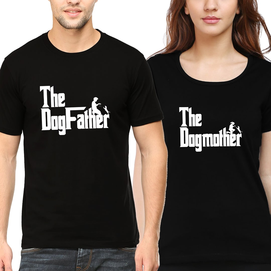 Cf23c4a5 Dog Father Dog Mother Couple T Shirts India Black