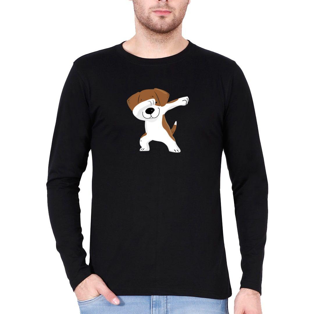 D7aa6b4d Cute Puppy Dab Full Sleeve Men T Shirt Black Front.jpg