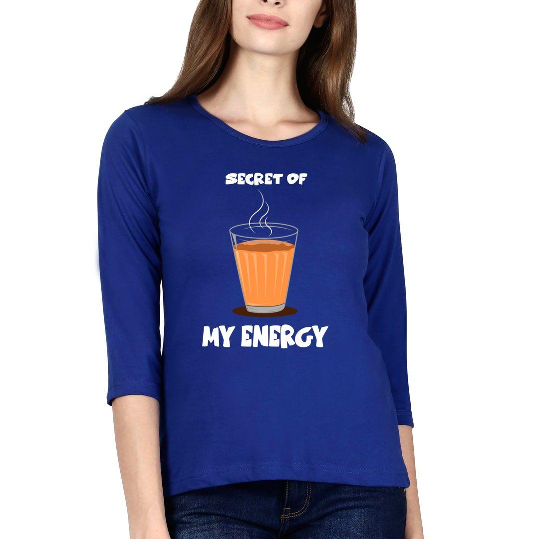 Dc948782 Secret Of My Energy Chai Tea Elbow Sleeve Women T Shirt Royal Blue Front.jpg