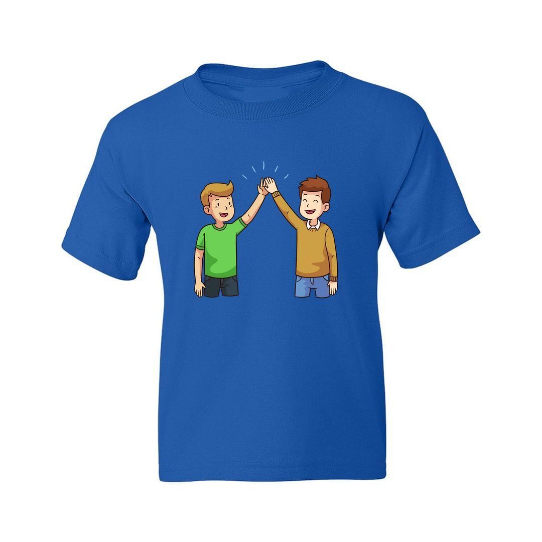 001e56e6 Two Friends Giving High Five Kids T Shirt Royal Blue Front.jpg