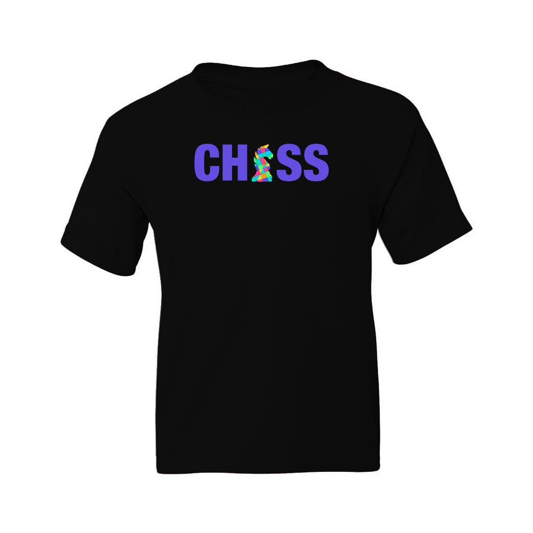 003b6fd7 Chess Creative And Colourful Knight For Chess Players Kids T Shirt Black Front.jpg