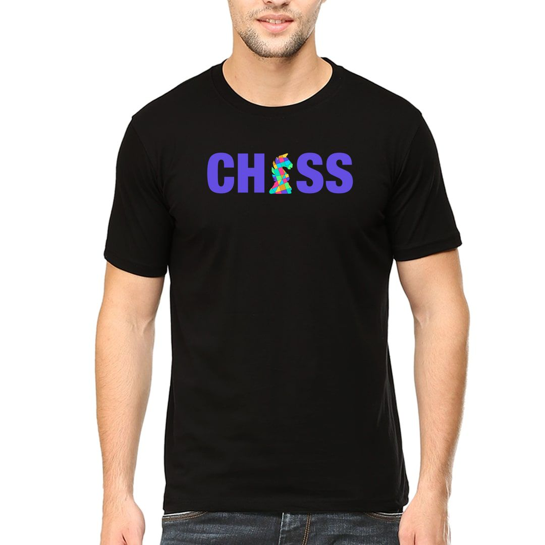 0a18e27f Chess Creative And Colourful Knight For Chess Players Men T Shirt Black Front.jpg