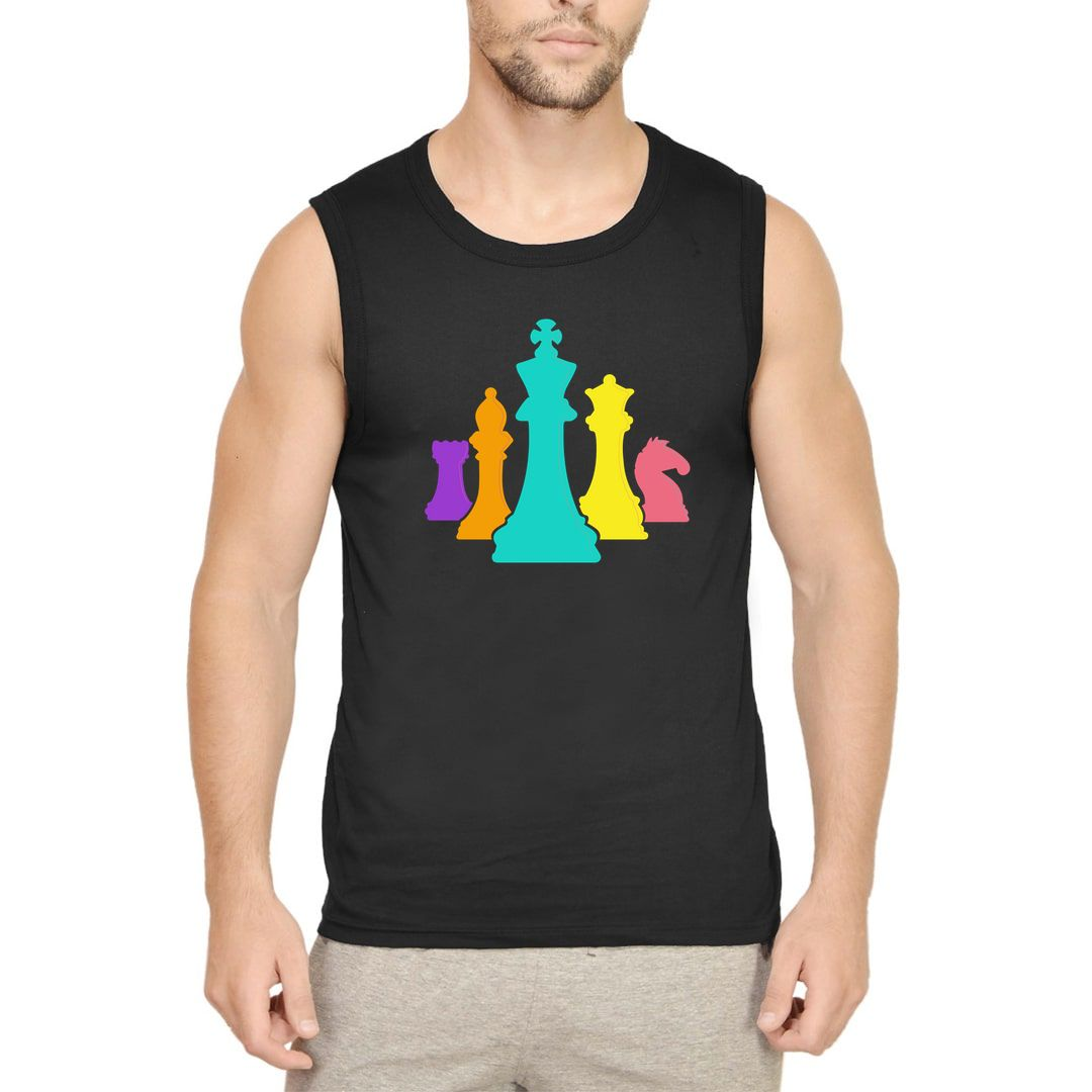 0ca40f79 Chess Pieces Colourful Design For Players And Enthusiasts Men Sleeveless T Shirt Vest Black Front.jpg