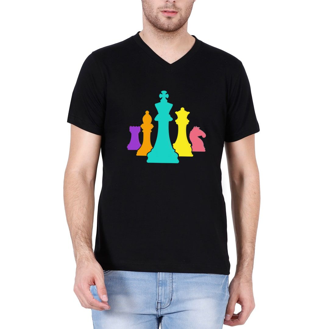 0ca40f79 Chess Pieces Colourful Design For Players And Enthusiasts Men V Neck T Shirt Black Front.jpg