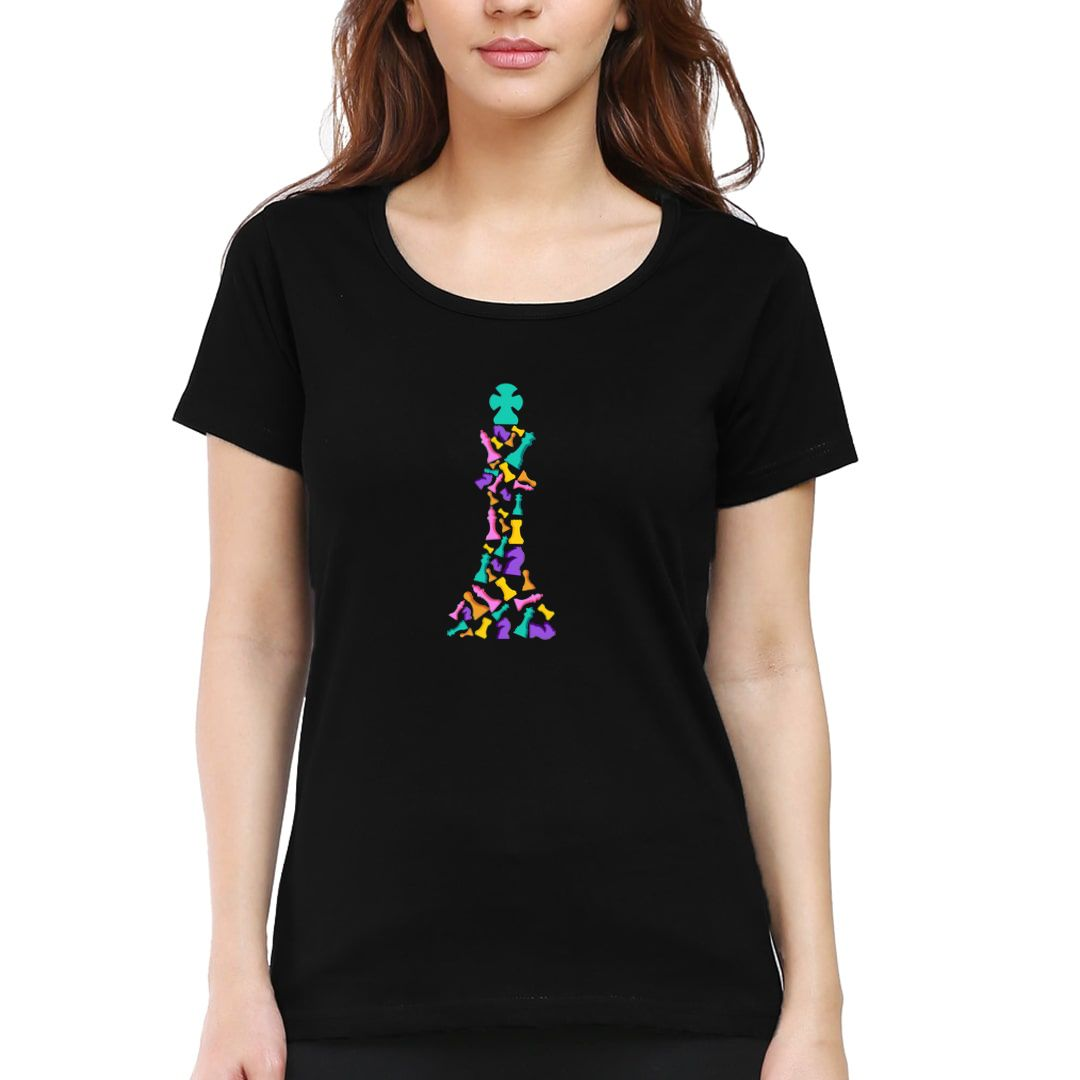 10be9c97 The Colourful King For Chess Players Women T Shirt Black Front.jpg