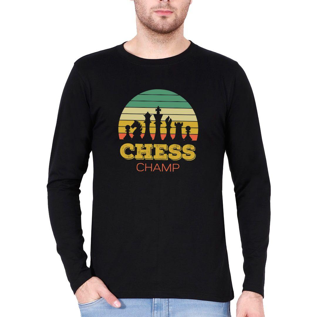 187ffc51 Chess Champ Vintage Retro Style Design For Chess Players Full Sleeve Men T Shirt Black Front.jpg