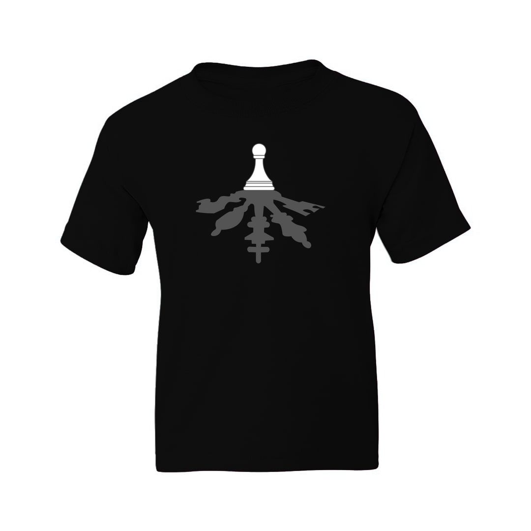 1a510491 The All Powerful Pawn Creative Design For Chess Players Kids T Shirt Black Front.jpg