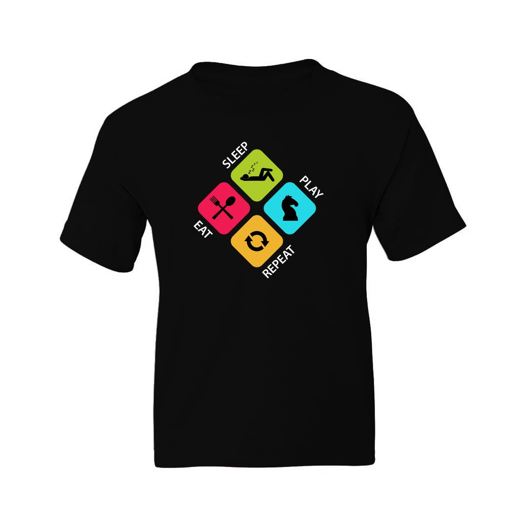 1cb898b8 Eat Sleep Play Chess Repeat Colourful Design For Chess Players Kids T Shirt Black Front.jpg