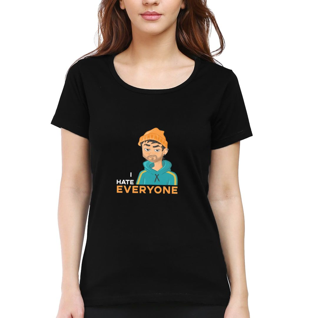 1d732db7 I Hate Everyone Grumpy Boy Funny Art For Rude Introverts Women T Shirt Black Front.jpg