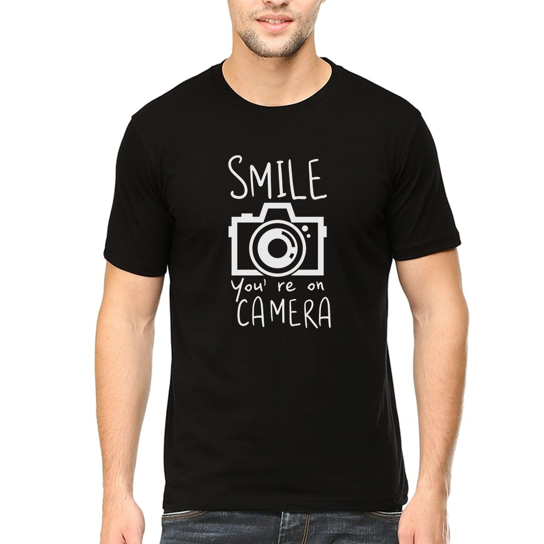 1d7d06d4 Smile You Are On Camera For Photographers Men T Shirt Black Front.jpg