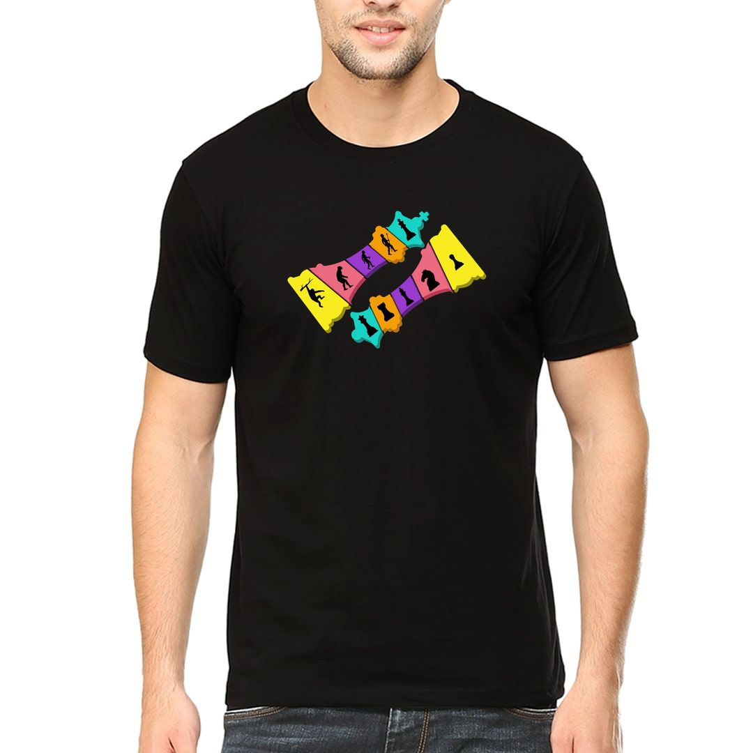 1d7fbb83 Evolution Of Chess Funny Colourful Design For Chess Players Men T Shirt Black Front.jpg