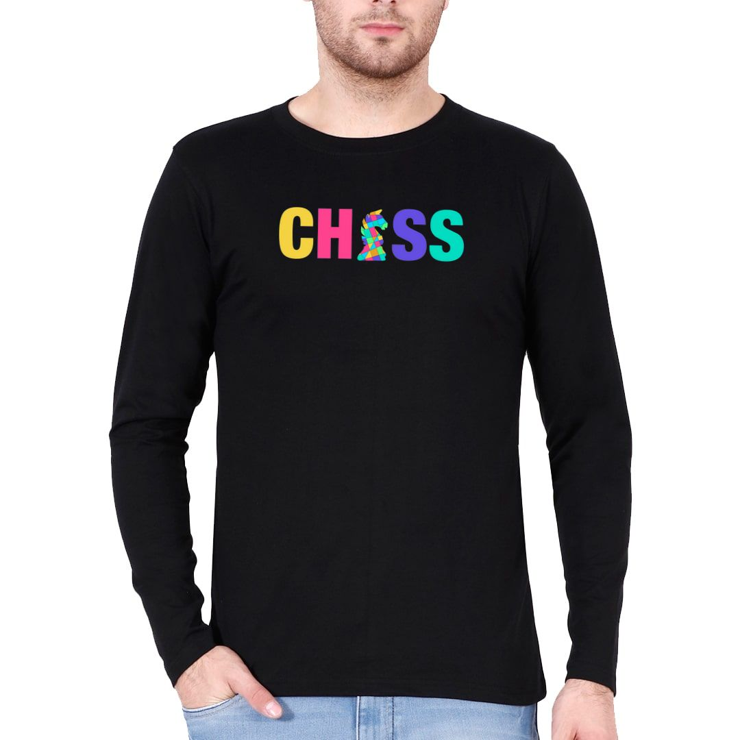 2252da38 Chess Creative And Colourful Knight For Chess Players Full Sleeve Men T Shirt Black Front.jpg