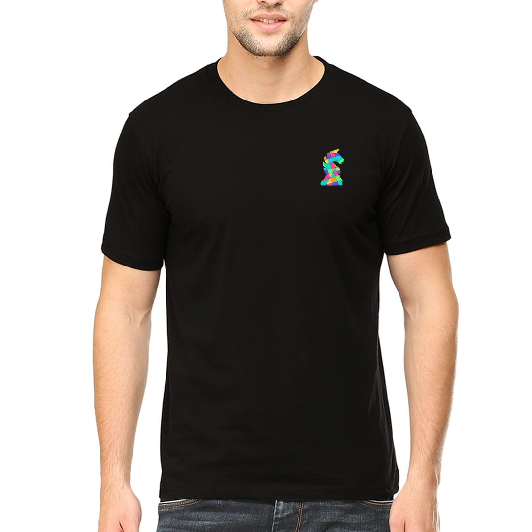 2be08400 Chess Creative And Colourful Knight Logo For Chess Players Men T Shirt Black Front.jpg