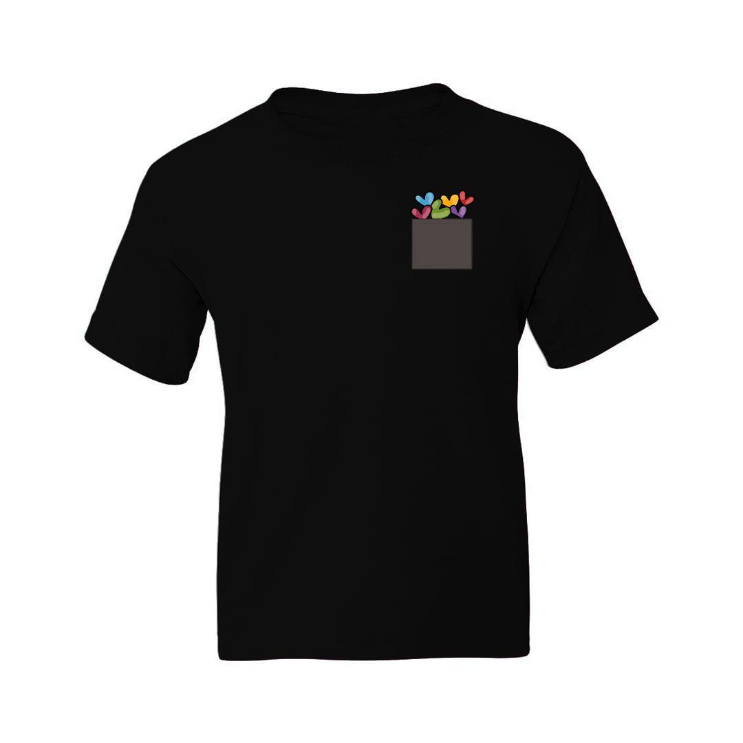 3bd749d9 Pocket Hearts Valentines Day Gift Kids T Shirt Black Front.jpg