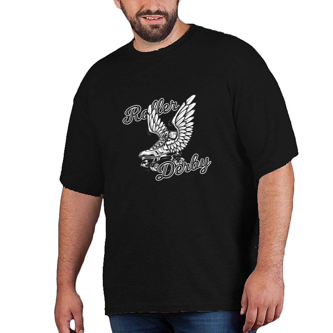 468e065b Roller Derby Skating Rollers With Wings Plus Size T Shirt Black Front.jpg