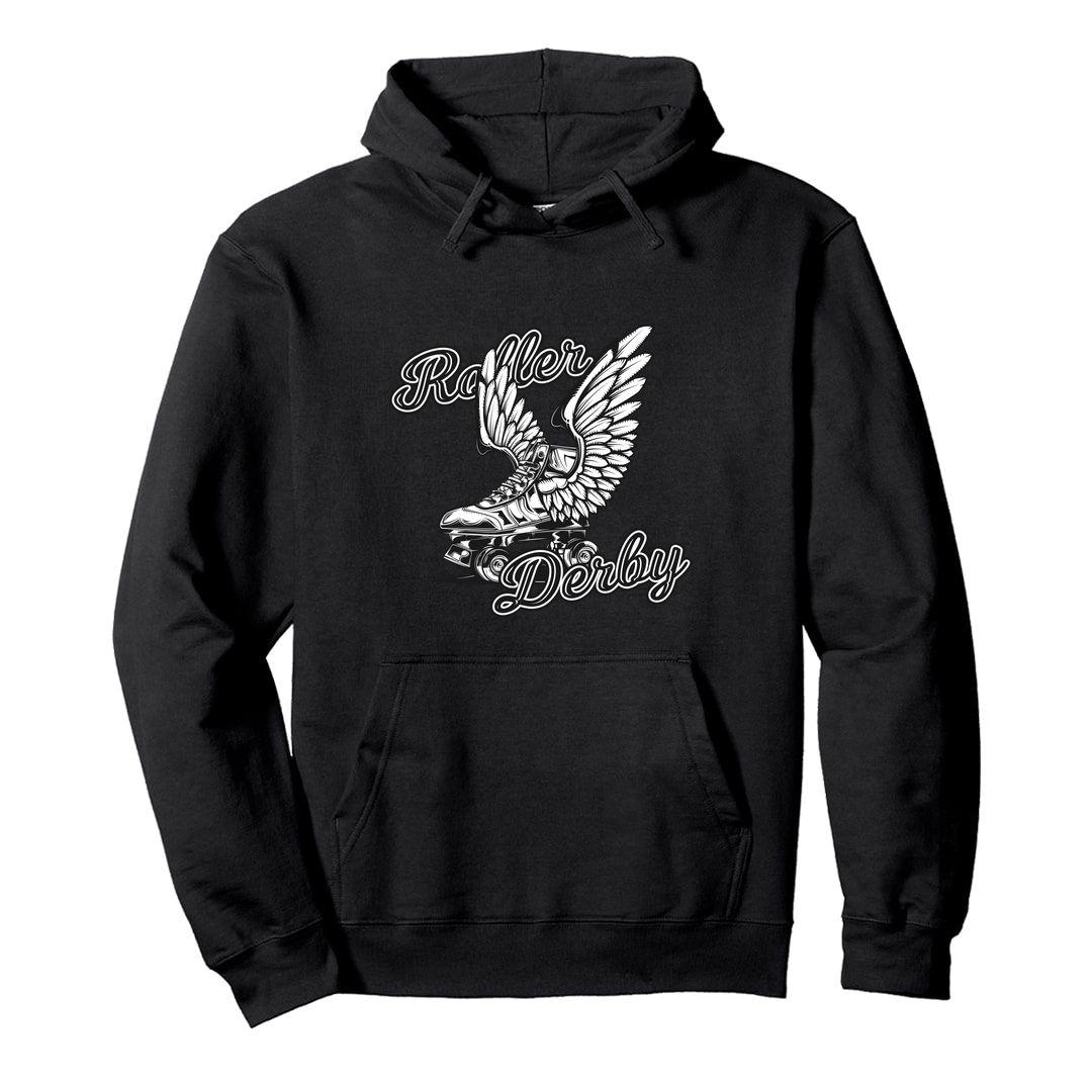 468e065b Roller Derby Skating Rollers With Wings Unisex Hooded Sweatshirt Hoodie Black Front.jpg