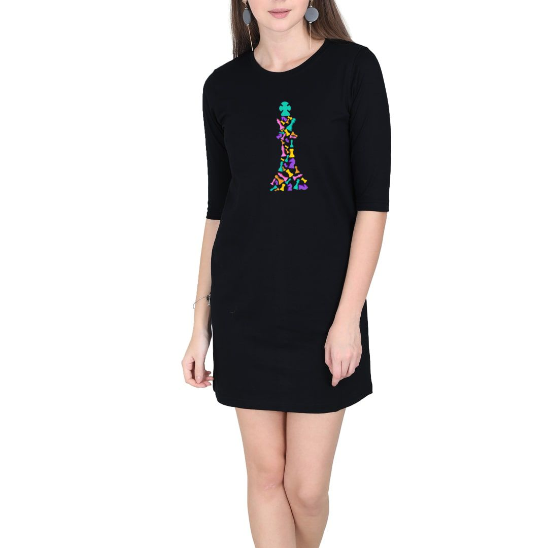 61245c60 The Colourful King For Chess Players Women T Shirt Dress Black Front.jpg