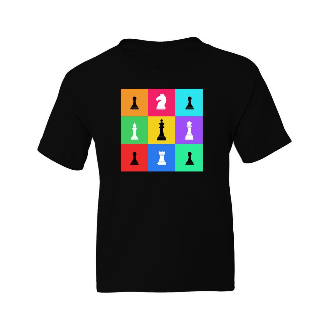 6612f8cd Chess Pieces Colourful Grid Design For Chess Players Kids T Shirt Black Front.jpg